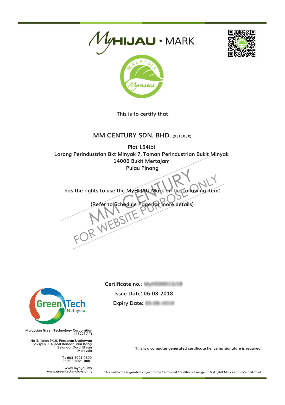 MM Century- MyHIJAU Certificate, Green Tech Malaysia