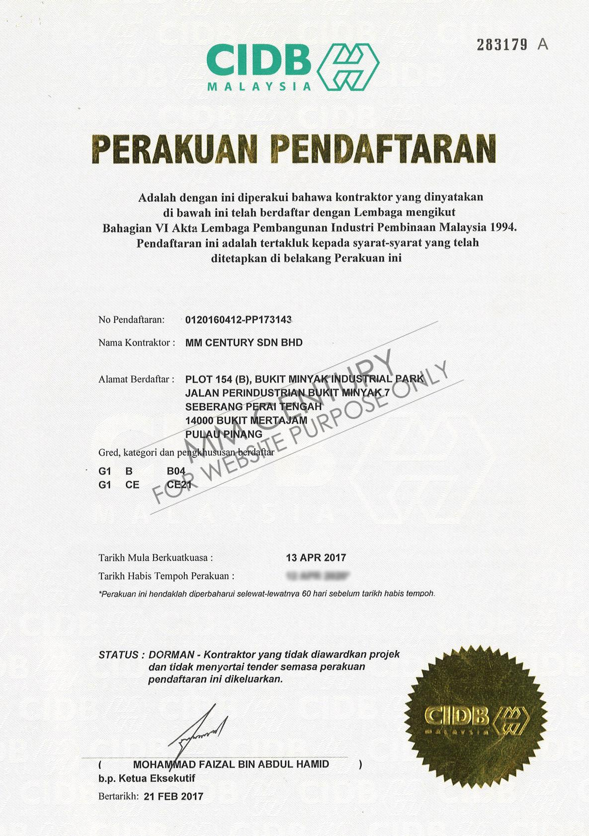 MM Century- CIDB Malaysia, Perakuan Pendaftaran, JPSPN