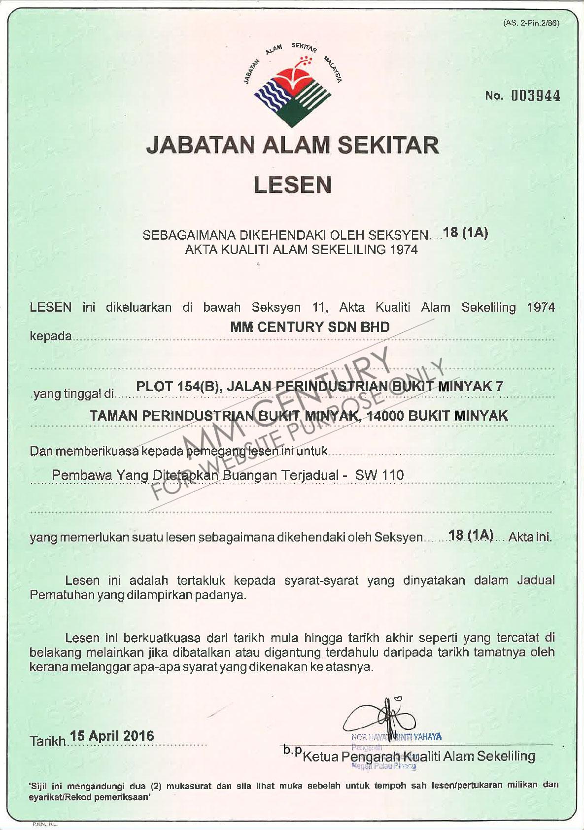 MM Century- Certification, Jabatan Alam Sekitar Lesen