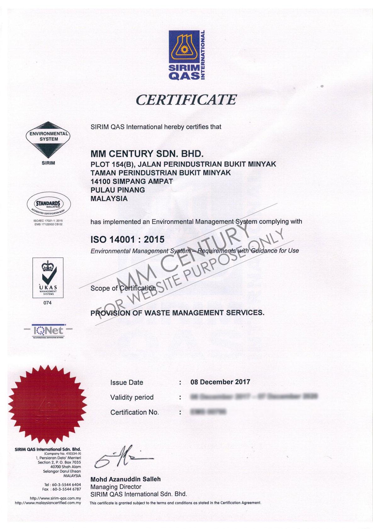 MM Century- Certificate, SIRIM QAS International